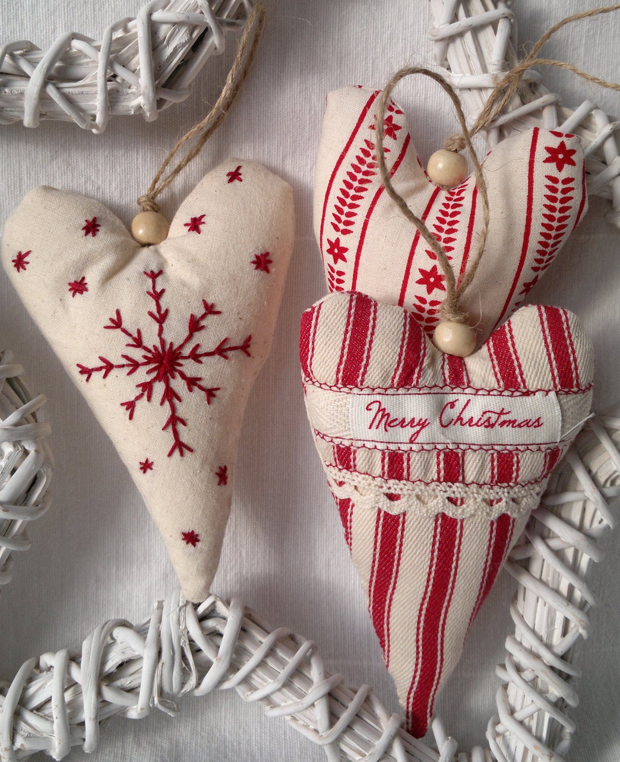 Set Of Three Red And White Christmas Heart Fabric Ornament