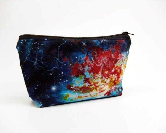 Starfield cosmetic bag 7 inch outer space nebula zipper pouch