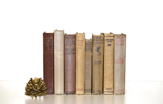 Beige Brown8 Book Collection Interior Design Vintage Book Decor