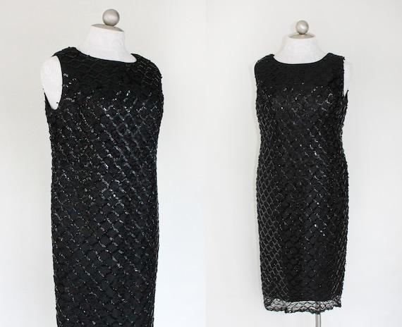 vintage dress // 60s sequined sheath dress / A Little Shimmer / little black dress medium  - large // sleeveless // little black dress