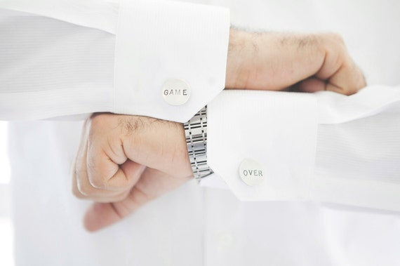 Game Over Tag Stamped Cufflinks - wedding day keepsake gift for the groom