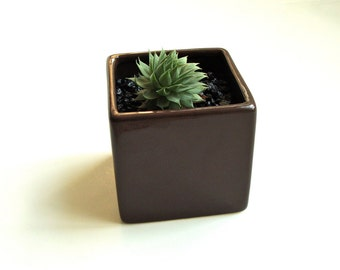 SALE!! Little Modern Glossy Brown Ceramic Cube Planter / Brown Modern Vase / Brown Pottery Planter / Brown Square Planter (Without Plants)