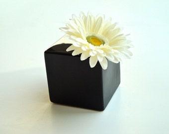 Modern Glossy Black Ceramic Bud Vase / Modern Flower Vase / Black Pottery Vase / Black Square Planter (Without Flower)