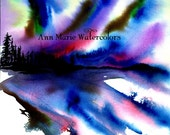"""Northern Lights -  abstract watercolor landscape - 8""""x10"""" signed giclee print"""