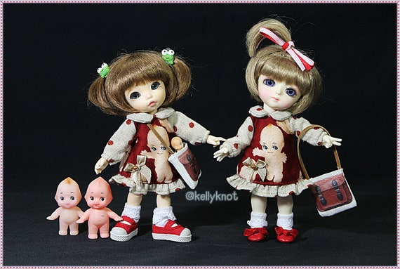 Who's love QP  Dress and CuteBag for your doll suitable for Lati yellow / pukifee/ Odecco / Middie blythe