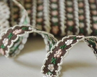Sewing Tape/Ribbon - Chic Little Embroidery Flowers, Coffee (2 Yards)