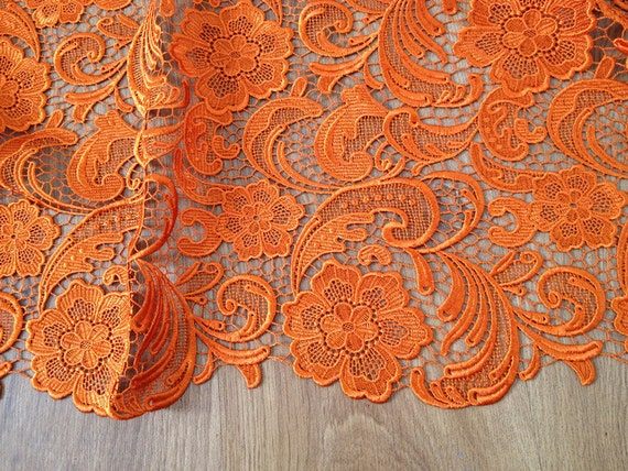 Orange Lace Fabric Embroidered Flowers Hollowed Florals Wedding Bridal Lace Fabric Costume Lace Elegant