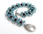 Bracelet, chainmail Coiled Butterflies, turquoise & brown