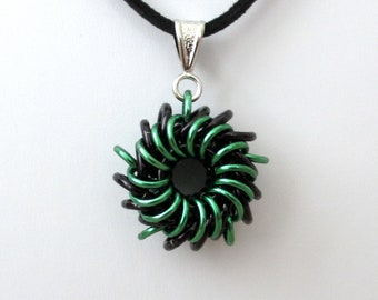 Green & black Whirlybird chainmail pendant necklace