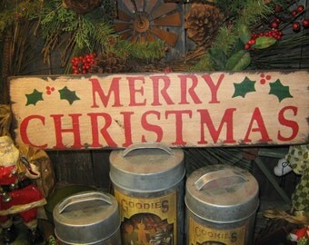 "Primitive Large Holiday Wooden Hand Painted Christmas Sign -  "" MERRY CHRISTMAS "" Country Folkart Housewares"