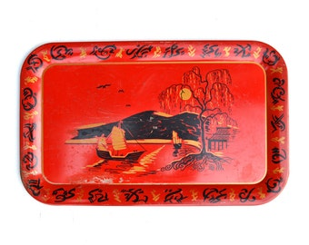 "vintage tin serving tray BIG 18"" Chinese type boats mountains pagoda red black  offered by Elizabeth Rosen"