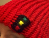 Red Knit Hat Handmade Beanie with Stoplight