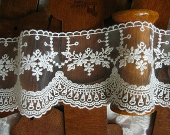 off white Lace Trim, embroidered mesh lace trim, tulle lace, ivory lace trim with scallops