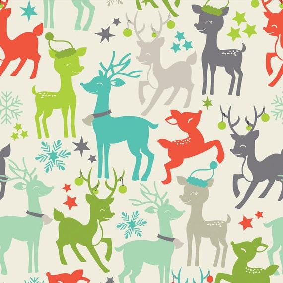Maude Asbury for Blend Fabrics, Tinsel, Reindeer Games in ivory, 1 yard