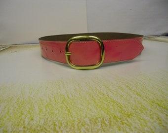 Ladies pink patent leather belt