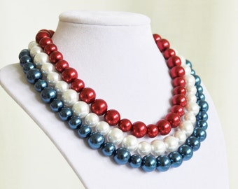 Election Day Necklace Fourth of July Necklace, American Red White & Blue Necklace