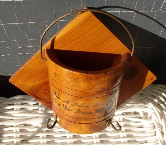 Items similar to toothpick wall pocket pot holder rack cog railway wood souvenir on etsy - Wooden pocket toothpick holder ...