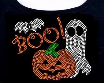 Boo Halloween RHINESTONE T-Shirt or tank top S M L XL 2XL - Bat Pumpkin Ghost