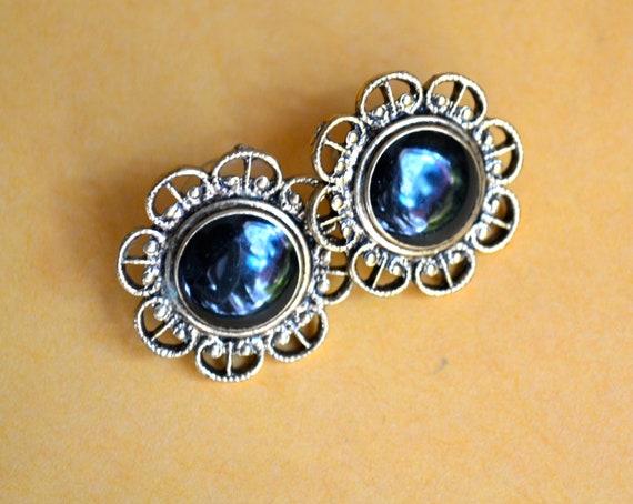 Art Deco Black Enamel Earrings, Gold Tone Filegree, Victorian Design Shabby Chic Jewelry