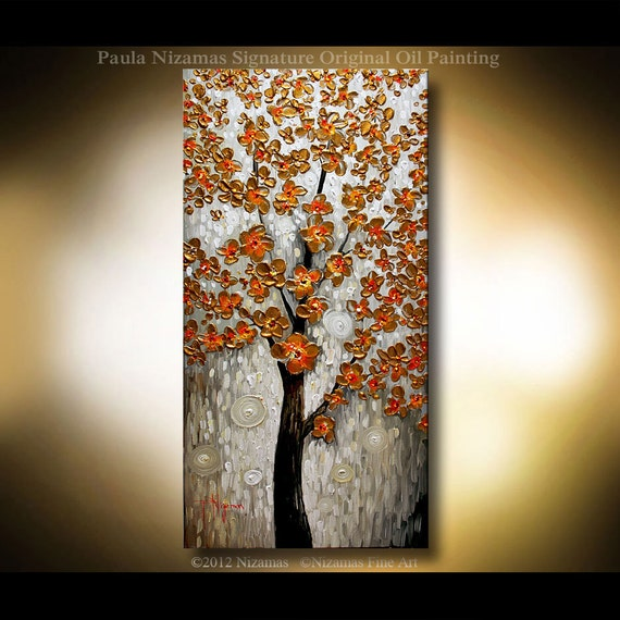"Original Modern Palette Knife Painting on Canvas Blooming Tree by P. Nizamas Earth Tones 40"" by 20"""