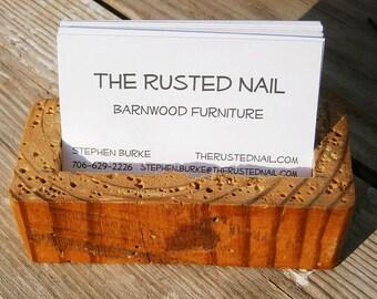 Reclaimed Barnwood Business Card Holder
