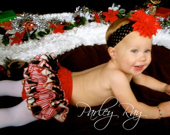 Ready to Ship Size 12-18 Month Beautiful Parley Ray Christmas Peppermint Penguins Ruffled Baby Bloomers/ Diaper Cover / Photo Props