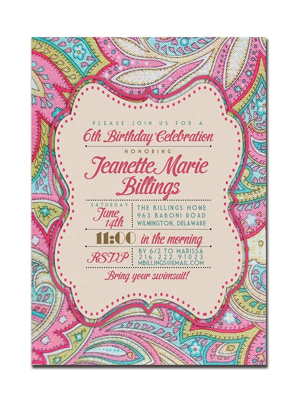 Birthday Invitation Modern Pink Paisley Vintage Bridal Pink Baby Shower Vintage Typography FREE PRIORITY SHIPPING or DiY Printable- Jeanette