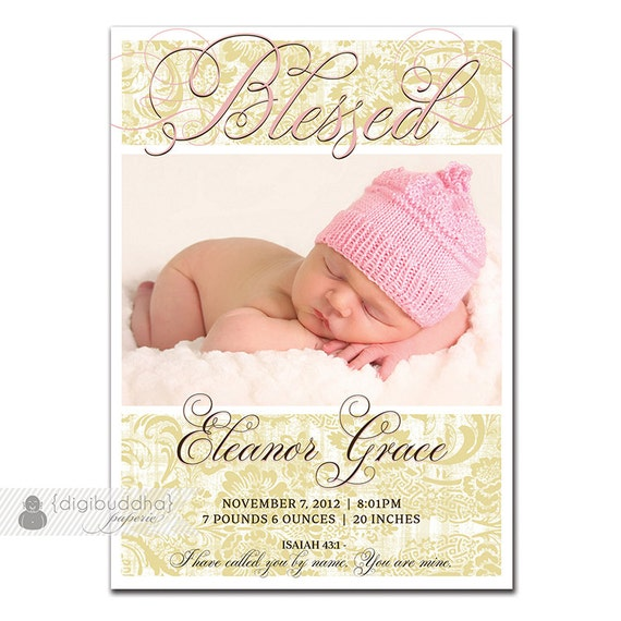 Girl Birth Announcement Vintage Pink Khaki Damask Blessed Elegant – Bible Verses for Baby Announcements