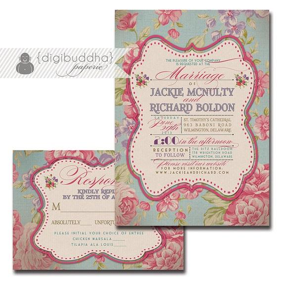 Vintage Rose Wedding Invitation Response Card 2 Piece