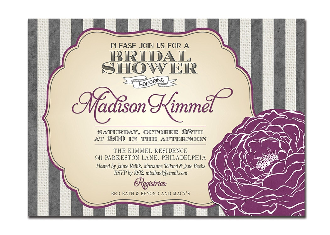 modern bridal shower invitation purple  gray by digibuddhapaperie, Bridal shower invitations