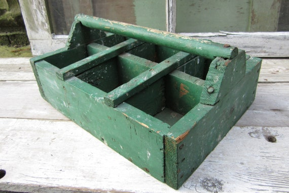 Antique Wooden Tool Caddy Rustic Wood Box Chippy Green Paint Old Primitive Item