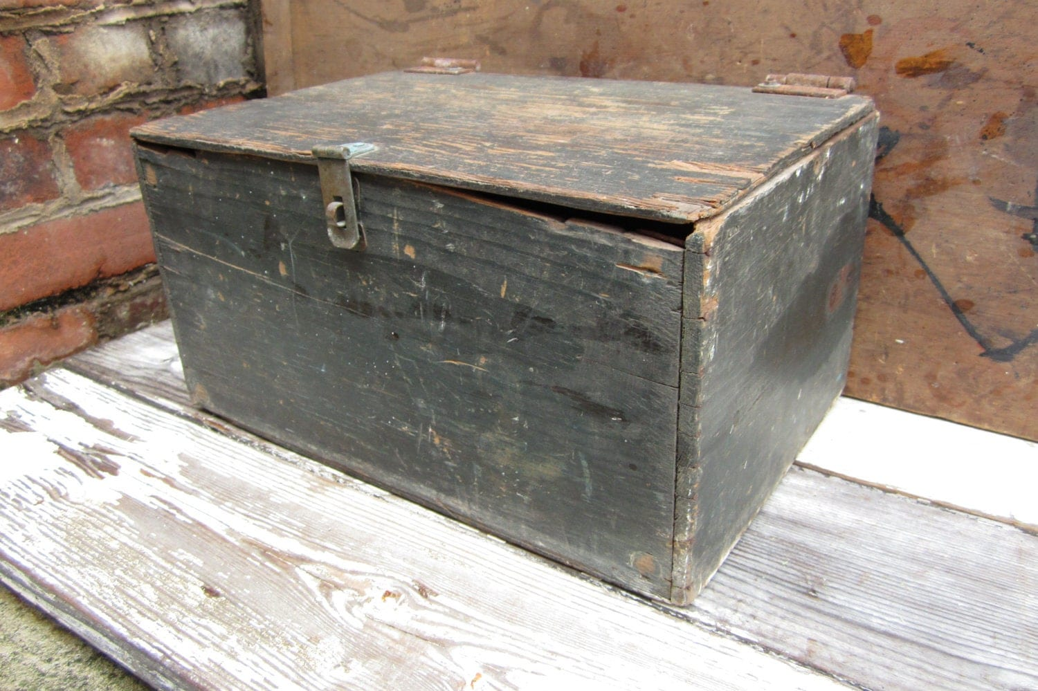 Antique wooden box home made wood trunk or chest ooak folk