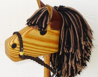 Hobby Horse - Wooden Stick Horse - Waldorf Toy - Brown/Black - Christmas Gift