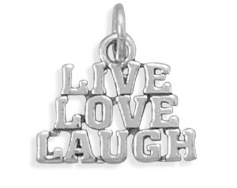 """Sterling Silver Inspirational """"LIVE LOVE LAUGH"""" Charm"""