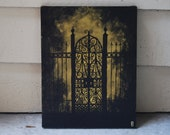 """Original Creepy Painting  The Forgotten Gate to Nowhere 11"""" x 14"""" Stretched Canvas Acrylic"""