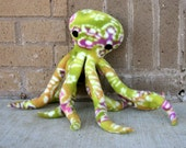 Octopus Greenie, stuffed octopus in green purple orange white stuffed animal Muser