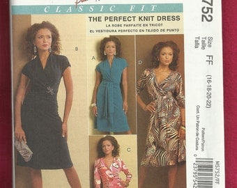McCalls 5752 Wrap Front Bodice Dress with V Neck and Sleeve Variations  Sizes 16 - 22 UNCUT