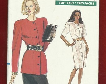 Vintage 1989 Vogue 7406 Semi Fitted Jacket or Jacket Dress with Strong Shoulders & Straight Skirt Sizes 6-8-10 UNCUT