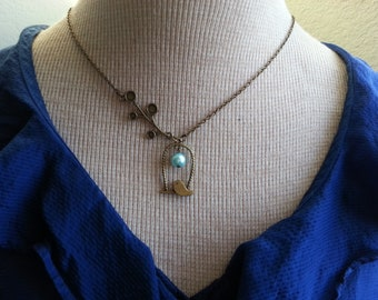 Bird Framed Necklace With Turquoise Pearl