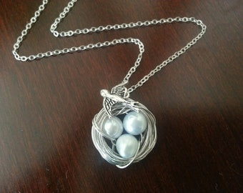 New  Ice Blue Colore Freshwater Pearl Bird's Nest Necklace