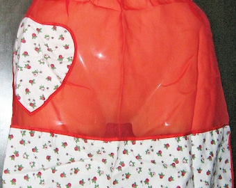 Vintage 1950s Apron/ Red/ Rockabilly / Housewife/ VLV
