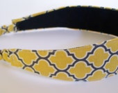 No Slip Tapered Headband Wrap in Vintage Yellow Lattice