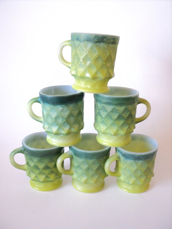 RESERVED reserved ... Fire King Green Milk Glass Mug Set, 1970's Coffee Cups