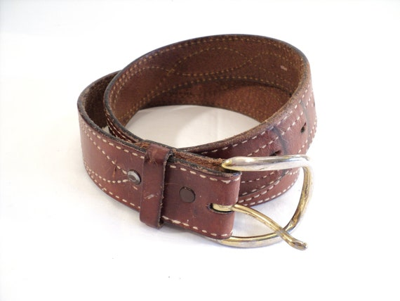 leather belt tony lama aged vintage thick by littlecleoathome