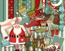 Christmas scrapbook, Scrapbook Kit, the Santa, Christmas Kit, Instant download