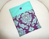 Purple and Aqua Damask Padded iPad Sleeve