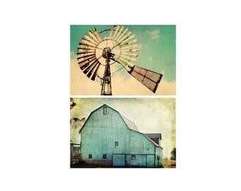 Country Aqua Barn Vintage Windmill Photo Canvas Set Farmhouse Photography Home Decor Wall Art Mint Teal Turquoise Rustic Livingroom Farm Art