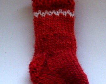 Christmas Stocking Ornament - red & white