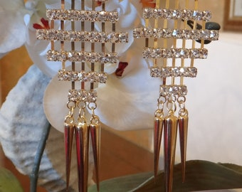 Hollywood Art Deco Swarvoski Crystal Chandelier Earrings, Dangle Earrings, Crystal Earrings, Wedding Jewelry, Bridal Earrings, Swarvoski