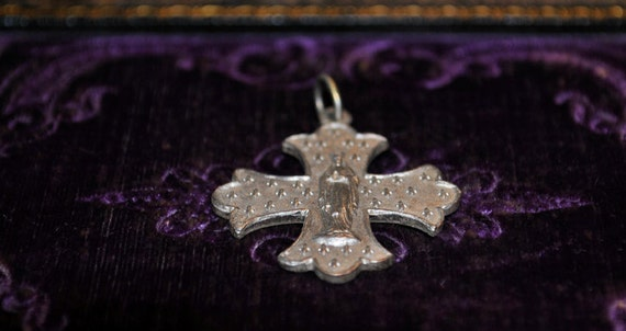 Vintage French cross the Madonna and fleur de lys silver metal